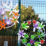 Created fence decorations for the site using recycled plastic bottles