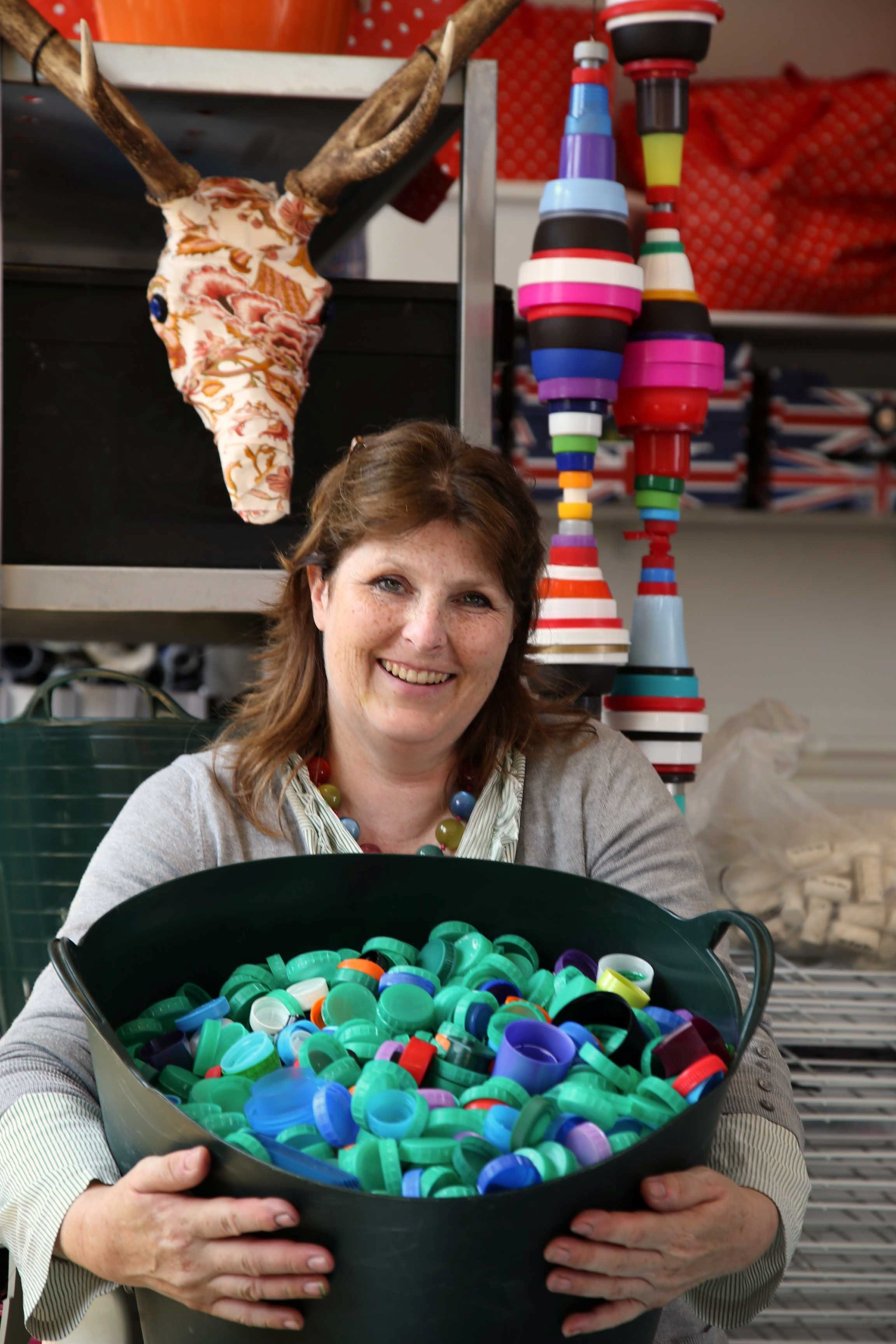 SCRAP CREATIONS: Yvonne Preston at her studio in Darlington where she makes art from scrap.      Picture: ANDY LAMB